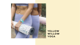 yellow willow yoga model holding mat