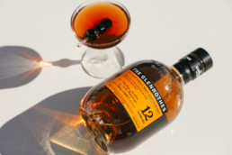 the Glenrothes bottle laying out in the sunlight