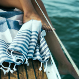 close up of mayde towel on a boat