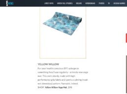 yellow willow yoga mat featured on e news
