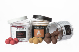lakrids by bulow spilling out of jar