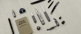 James brand knifes next to everyday carry items