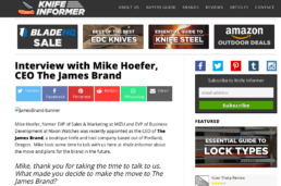 knife informer features the James brand knife