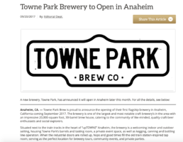 Towne Park brew news about new opening