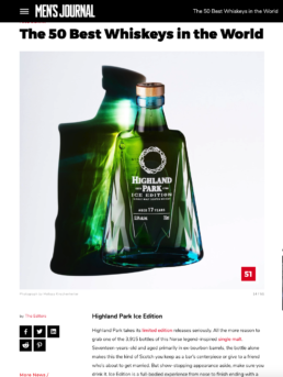 highland park ice edition bottle display in mens journal