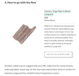 yellow willow yoga mat on internet
