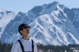 skier wearing bonx headphones