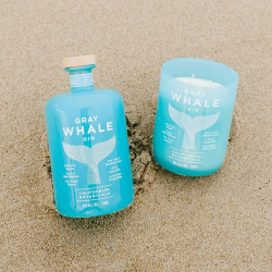 gray whale gin bottle and candle cupp