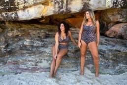 Model Jessica Vander Leahy in Wild At Heart top and Go Your Own Way bottoms in Leopard (Left) and Fiona Falkiner in One Of My Kind one piece in Leopard (Right)