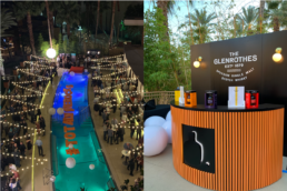 Whiskey on the Rocks pool aerial photograph with orange floating pool letters spelling out #TotalWineRocks (left).The Glenrothes half-moon orange bar with black backdrop and lights (right).